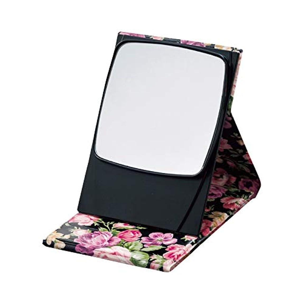 もちろん不格好章5倍拡大鏡プロモデルナピュアミラー ローズブラック 【花柄 鏡 拡大鏡付き メイク 美容 おしゃれ 化粧 コンパクト】