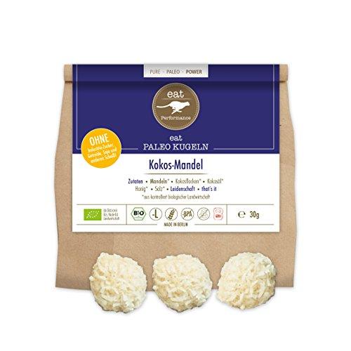 eat Performance® Paleo Kugeln Kokos-Mandel (4x 10g) - Bio, Paleo, Glutenfrei, Laktosefrei, Ohne Zuckerzusatz, Pralinen Aus 100% Natürlichen Bio Zutaten