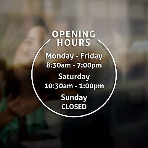 Muurstickers Muursticker Aangepaste Openingstijden Teken Sticker Sticker Teken Winkel Bedrijf Winkel Kantoor Restaurant Cafe Muur 76x76cm