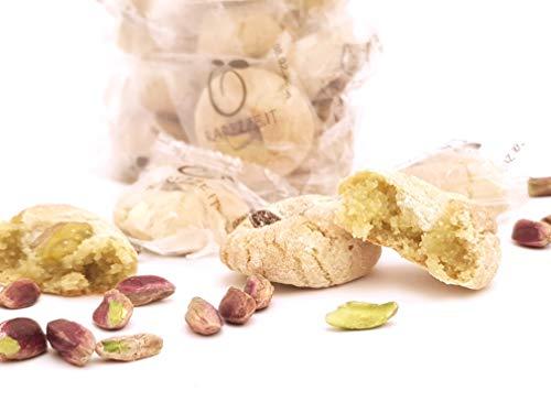 Pâtisseries d'amandes a la pistache sicilienne (gr.400). RAREZZE: produits siciliens typiques, cannoli, pâte d'amande, cassate, pâtisserie artisanale sicilienne.