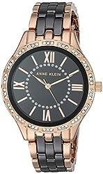 Black/Rose Gold Swarovski Crystal Accented Ceramic Bracelet Watch