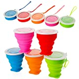 5 Pack Silicone Collapsible Travel /Camping Cup,Expandable with Lids,Portable Travel Mugs...