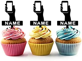TA1218 Hand Mobile Phone Silhouette Party Wedding Birthday Acrylic Cupcake Toppers Decor 10 pcs with Personalized Your Name