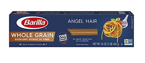 Barilla Whole Grain Pasta, Angel Hair, 16 Ounce (Pack of 20)