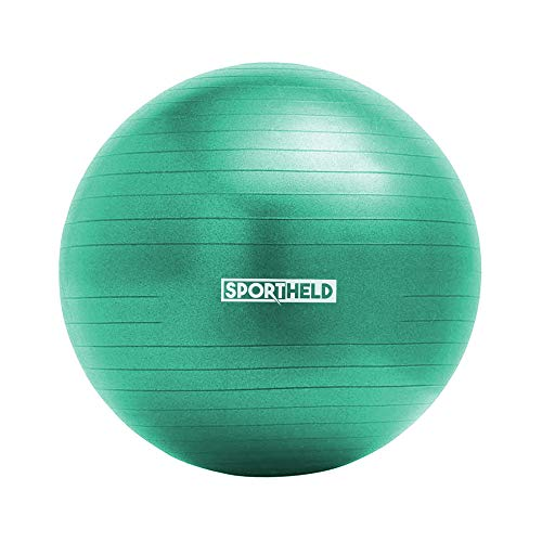 Sportheld® Profi Gymnastikball inkl. Fußpumpe zum Aufblasen | 75cm Durchmesser | Türkis | robuster Sitzball & Fitnessball