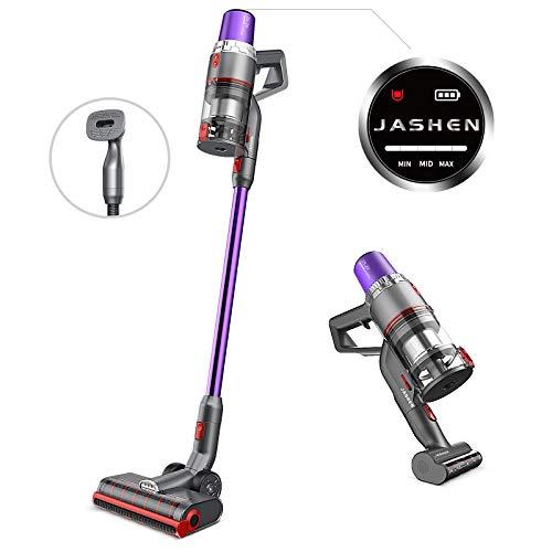JASHEN Akku Staubsauger mit Haustierbürste, 350W Saugkraft, 25.2V abnehmbarer langlebiger Akku, 4in1 Staubsauger kabellos mit LED Anzeige, smarter Bodendüse mit 2 Bürstenrollen für Hartboden Teppich