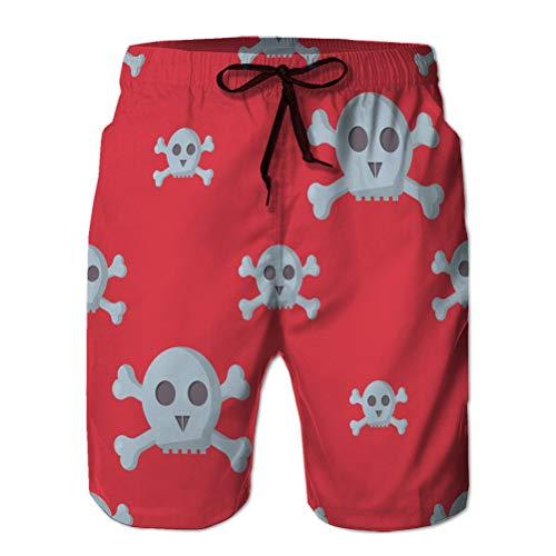 LJKHas232 41 Casual Mens Swim Trunks Quick Dry Print Beach Shorts Grunge Skulls Human Bone M