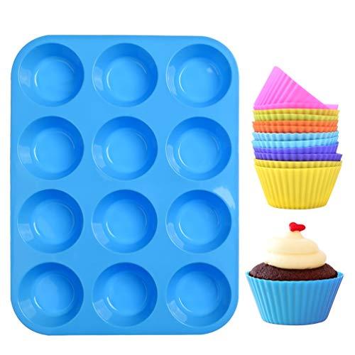 LLNRC Mini Muffinform Silikon,12er Muffin Backform,Backförmchen Antihafteigenschaft Muffinblech mit 12 Stück Wiederverwendbare Muffinförmchen Fuer Cupcakes,Pudding,Kuchen,Blau Muffins Backblech