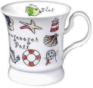 Porzellan- Tasse, Kaffeehaferl, Becher - Langeooger Pott - maritim -deutsches Produktdesign