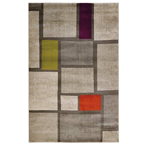 WeBTAPPETI.IT Tapis Mondrian salon style moderne Boho Mondrian Multicolore 120 x 160 cm