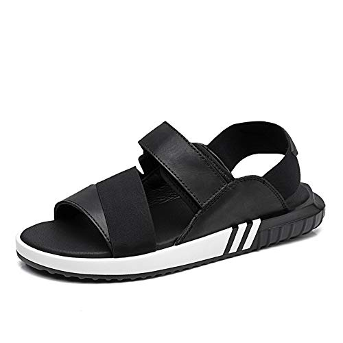Xingyue Aile Zapatillas y sandalias Sandalias de playa al aire libre de moda de verano para hombres o mujeres, zapatos de cuero suave y cómodo de la PU antideslizante plano redondo hebilla del dedo de
