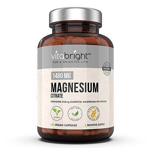 Magnesium Citrate 1480mg with 444mg Elemental Magnesium per Serving - 180 Vegan Capsules - 3 Months Supply - for Healthy Bones & Muscle Function - Daily Magnesium Supplement for Men & Women