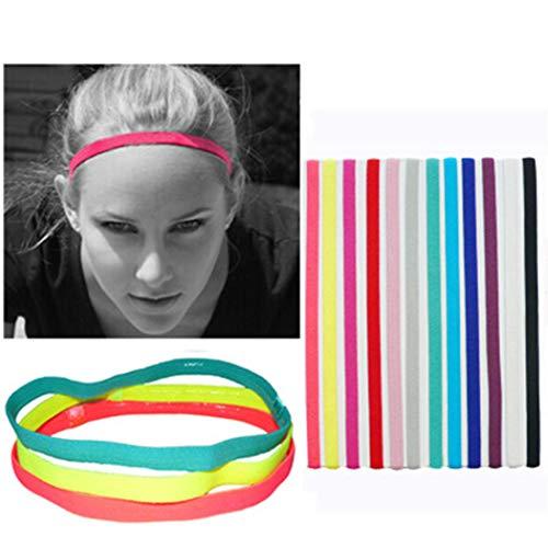 Elastische Sport Hoofdbanden Geen Slip Grip Haarband Enkele Band Silicone Gevoerde Sweatband Yoga Haaraccessoires voor Vrouwen en Meisjes (6St)