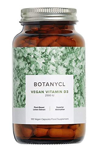 Vegan Vitamin D3 by Botanycl | 4 Month Supply High Strength 2500 IU | Supports Healthy Immune System | in a Coconut Oil and Sunflower Oil Base for Superior Absorption - 120 Vegan Capsules