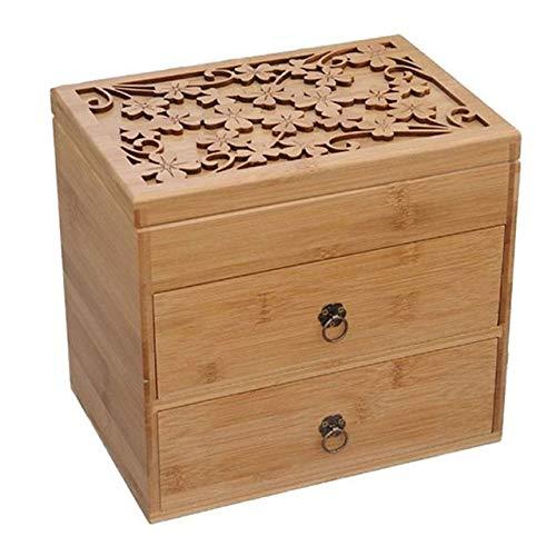 WonderfulDay Gemusterte ätherische Ölflasche aus Holz Tragbare Aufbewahrungsbox mit DREI Schichten, Holzfarbe