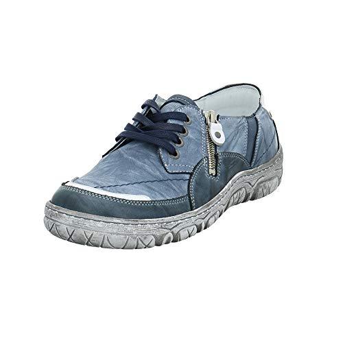 KRISBUT Damen 2451-1 Blauer Glattleder Sneaker Größe 42 EU Blau (Blau Grau)
