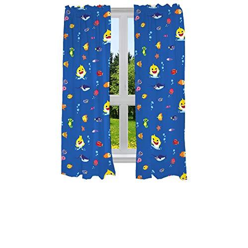 "Franco Kids Room Window Curtains Drapes Set, 82"" x 63"", Baby Shark"