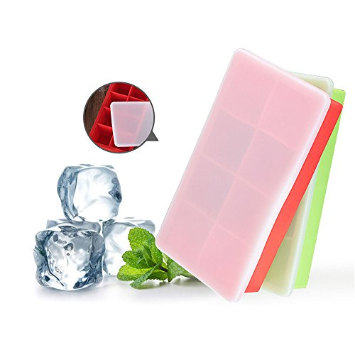 Moaeuro in silicone per cubetti di ghiaccio, sfoderabile, make 16grandi cubetti di ghiaccio, easy release, senza odore.Impilabile, cubetti di ghiaccio con coperchio trasparente.(2pezzi)  Green&Red