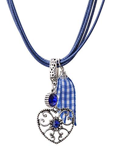 Trachtenkette Alpenherz eleganter und funkelnder Edelweiss Anhänger mit Strass - Trachtenschmuck Kette für Dirndl und Lederhose (Blau)