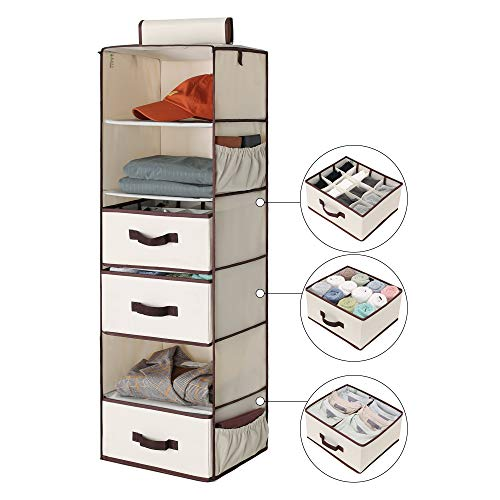 "StorageWorks 6-Shelf Hanging Closet Shelves, Hanging Closet Organizer with 2 Divisible Drawers and 1 Underwear Drawer, Canvas, Beige, 13.6""W x 12.2""D x 42.5""H"