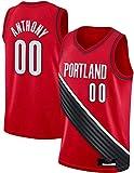 WHYYT Camisetas de Baloncesto para Hombres, NBA Portland Trail Blazers # 00 Carmelo Anthony Jersey, Chaleco sin Mangas Transpirable Bordado,S(165~170CM/50~65KG)