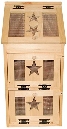 Kenzie's Kreations Unfinished Star Veg Bin with Bread Box on Top, 17' L x 36' H