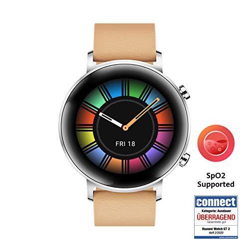 HUAWEI Watch GT 2 Smartwatch (42 mm Full-Color-AMOLED Touchscreen, SpO2-Monitoring, Herzfrequenzmessung, Musik Wiedergabe, 5ATM wasserdicht, GPS) Gravel Beige [Exklusiv +5 EUR Amazon Gutschein]