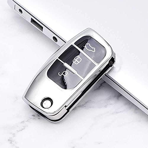 Funda para llave inteligente, suave TPU para llave de coche, para Ford Fiesta Focus2 Ecosport Kuga Escape Falcon B-Max C-Max Eco Sport Galaxy Silver