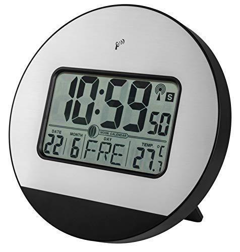 Zeit-Bar Funkwanduhr / -tischuhr mit Temperatur, Datum, Mondphase, LAUTLOS