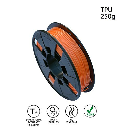 LEE FUNG 1.75mm TPU 3D Printing Filament, Dimensional Accuracy +/- 0.05mm, 0.55 LBS (0.25KG) Spool,1.75 mm 3D Filament for Most 3D Printer & 3D Printing Pen (Orange)