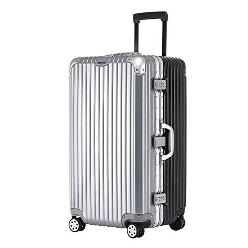 LPJYZ Gepäck verdickte Aluminiumrahmen Trolley Karo große Kapazitäts 20/24/28 Zoll (Color : Silver Black, Size : 20 inch)