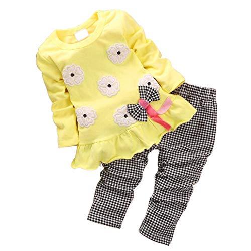 BOBORA Ensemble Bébé Filles, 2PCs T-Shirt à Fleurs à Manches Longues en Coton + Pantalon à Carreaux pour 1-3Ans