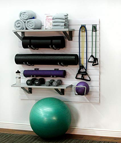 StoreWALL Deluxe Home Gym Fitness Slatwall Storage and Organization Kit (Brite White)