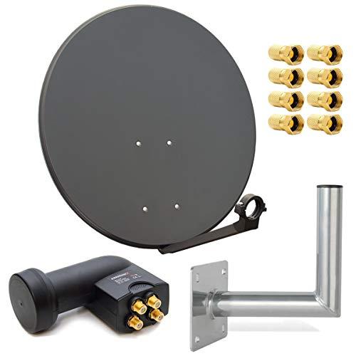 PremiumX Digital SAT Anlage 80 cm Stahl Schüssel Spiegel Antenne Anthrazit Quad LNB PXQS-SE 0,1dB für 4 Teilnehmer + Wandhalter 25cm ALU TÜV-Geprüft + 8 F-Stecker 7mm