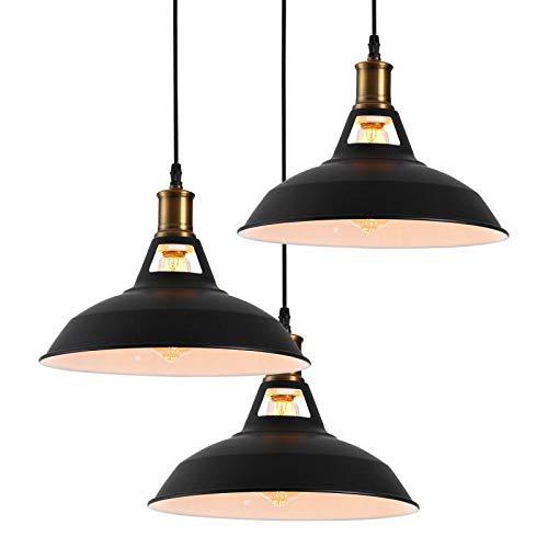 Homiforce HMP3006 - Lámpara de techo colgante (3 luces, con pantalla de metal, acabado en negro mate), diseño industrial