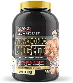 Max's Anabolic Night Slow Release Protein Powder, Vanilla Malt, 1kg