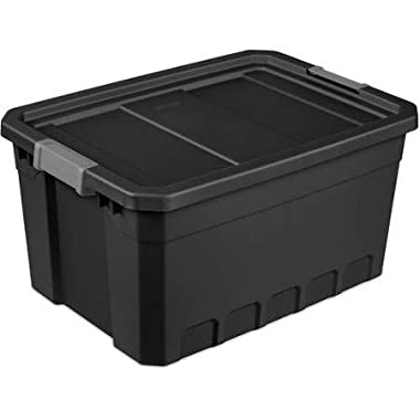 Sterilite 19 Gallon Stacker Tote- Black, Case of 6