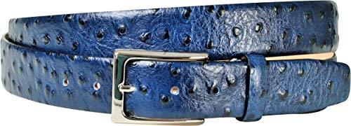 Handmacher Leder-Gürtel für Herren in Marine, aus Kalbsleder Strauss (Imitat), Länge 105 cm