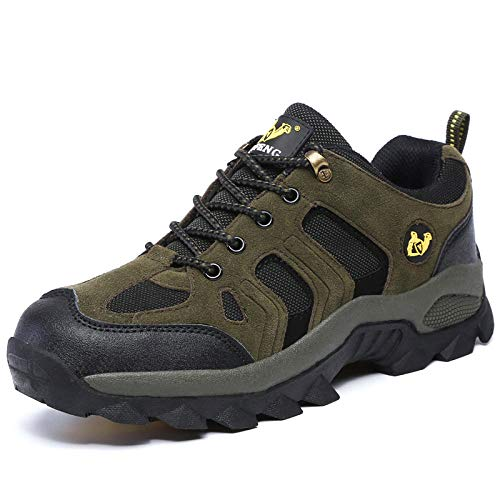 Y-PLAND Couple models outdoor hiking shoes, men and women breathable hiking shoes, non-slip wear-resistant rubber sports shoes-Military green_EU39