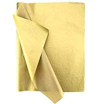 SAVITA 100 Sheets 35x50cm/14x20 Inch Gold Metallic Tissue Paper Metallic Gift Wrapping Tissue Paper for Christmas Weddings Birthday Party Showers DIY Arts Crafts