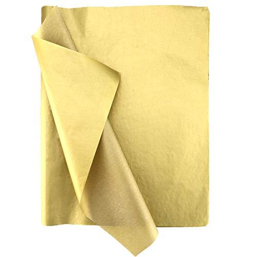 SAVITA 100 hojas de papel metálico dorado de 35 x 50 cm, papel de seda metálico para regalo de Navidad, bodas, fiestas de cumpleaños, fiestas, manualidades, manualidades