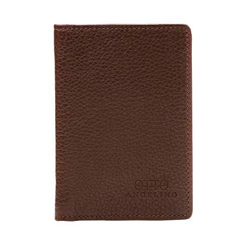 Otto Angelino Bifold Lederbrieftasche - Reisepass-Stil Kreditkartenhalter für Ausweis, Bank und Lastschriftkarten, Geld - Faltbar, Leicht und Reisefreundlich - RFID Schutz (Dunkelbraun)