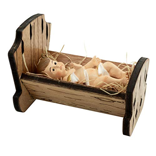 Baby Jesus in Manger | Perfect for Indoor Nativity Scene | Traditional Religious Christmas Decoration | Wooden Manger with Removable Baby Jesus | Great Gift | Choose from 3 Sizes (Small)