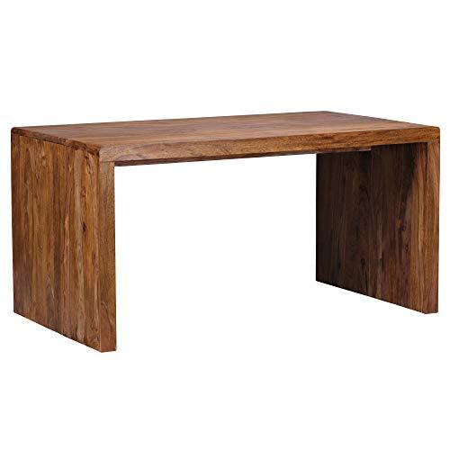 FineBuy Schreibtisch Massiv-Holz Sheesham Computertisch 160 cm breit Echtholz Design Ablage Büro-Tisch Landhaus-Stil Natur-Produkt Büro-Möbel dunkel-braun Modern Büroeinrichtung rechteckig 76 cm hoch
