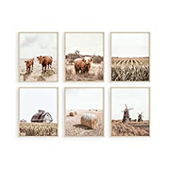 COUNTRY-INSPIRED ARTWORK: Complement rustic farm decor with these Haus and Hues set of 6 farmhouse wall prints. This set of 6 farmhouse decor features natural warm brown tones and simple yet classic farmhouse designs, such as farm animal pictures, fa...
