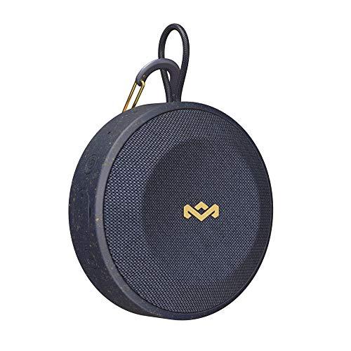 House of Marley No Bounds Outdoor Bluetooth Lautsprecher, wasserdicht, staubdicht & sturzsicher IP67, schwimmfähig, 10 Std Akku, Karabiner, Schnellladung, Aux, Dual Pairing, Mikrofon, blue