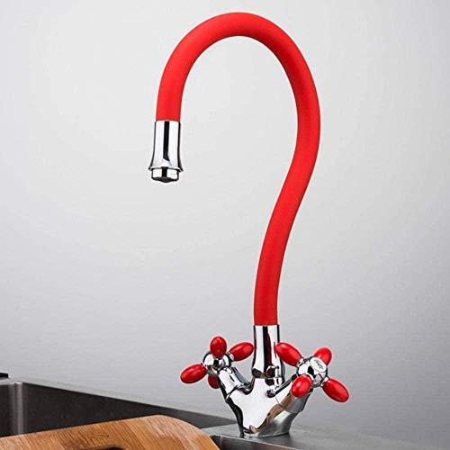 Grifos rojos, grifo de cocina para el hogar, grifo mezclador, grifos de agua fría y caliente, grifos de nariz de gel de sílice rojo, cocina Robinet