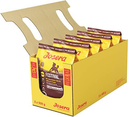 JOSERA Festival (5 x 900 g) | Hundefutter mit leckerem Soßenmantel | Super Premium Trockenfutter für ausgewachsene Hunde | 5er Pack