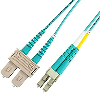 Total Cable Solutions OM4 100Gb 50/125 Multimode Duplex Fiber Optic Patch Cable, LC to SC (5 Meters)