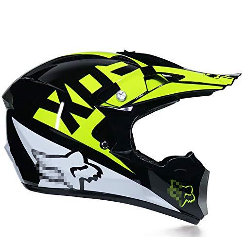 モトクロスヘルメット、ゴーグル+手袋+マスクプロのラリーバイク用ヘルメット取り外し可能で洗えるブラックイエローFOXパターンアダルトヘルメットセット